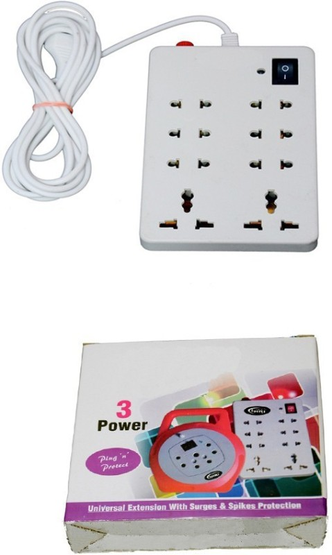 NEXT TECH 8+1 (1 PCS) 8 Socket Surge Protector(White)