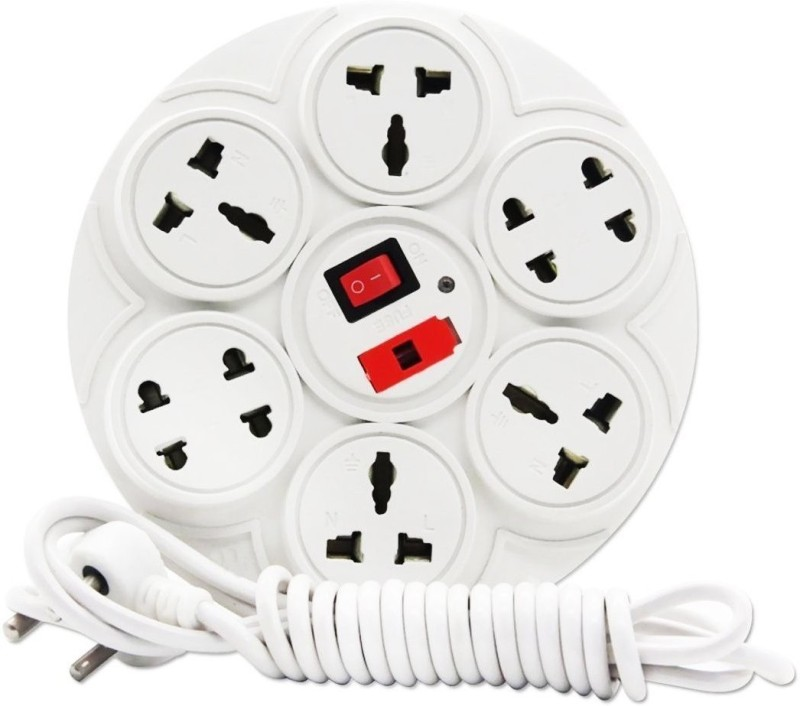 WOWSOME Extension Board 6 Amp 8 Socket Surge Protector(White)