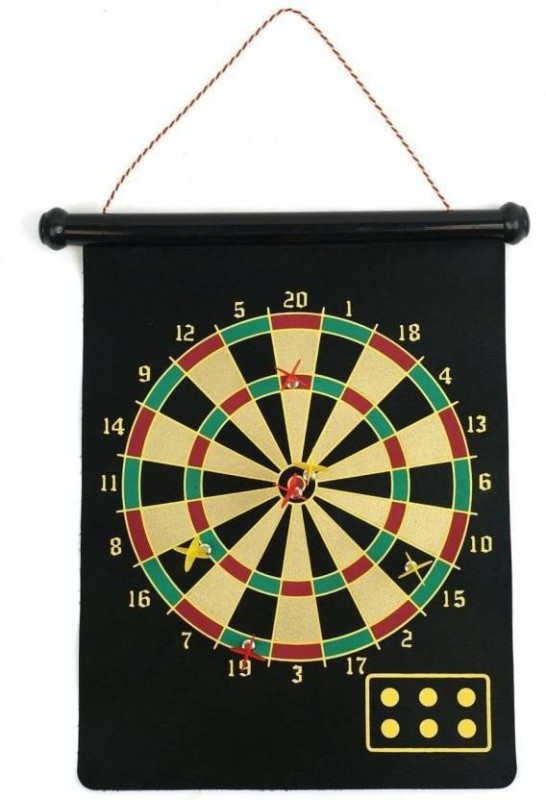 Civil 51cm Large Double Sided Magnetic Hanging Dart Board Game with 6 Darts & Roll up Feature 51 cm Dart Board Steel Tip Dart(Multicolor, Pack of1)