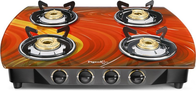 Pigeon Steel, Glass Manual Gas Stove(4 Burners)