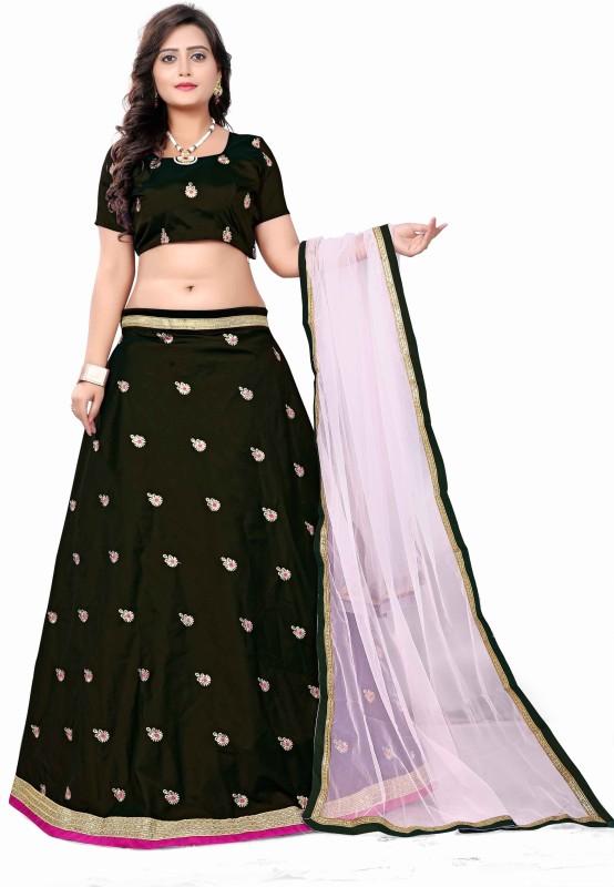 Fabcartz Embroidered Semi Stitched Lehenga, Choli and Dupatta Set(Black)