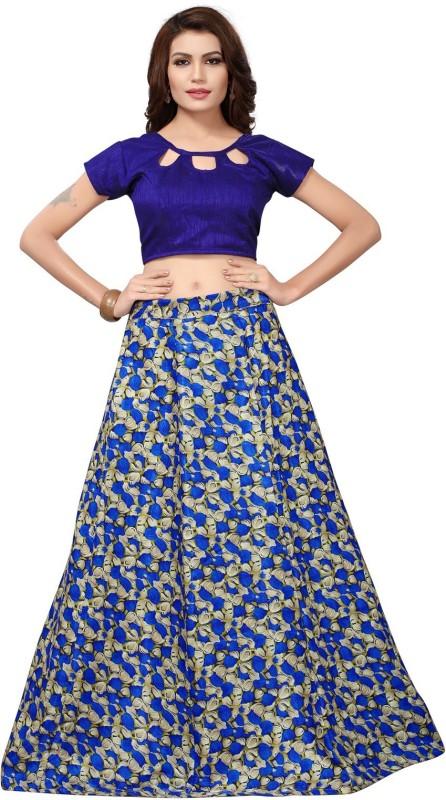 Active Floral Print Semi Stitched Lehenga Choli(Blue)