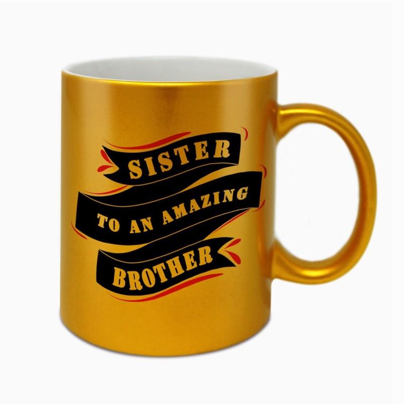 Indigifts Raksha Bandhan Gift Rakhi Gift, Gifts for Sister, Rakshabandhan Gift, Marriage Gift for Sister, Golden Coffee_S-MUGCRGD01RO11-SIS18016 Ceramic Mug(330 ml)