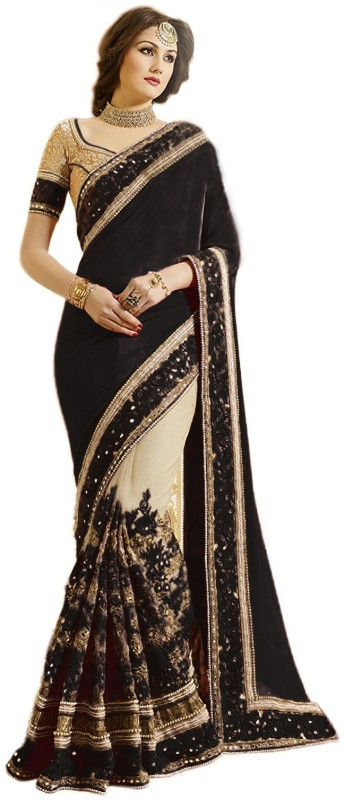 Pragati Fashion Hub Embroidered Fashion Satin, Net Saree(Multicolor)