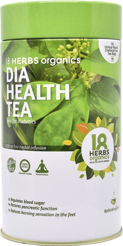 18 Herbs Dia Health Tea TIN Unflavoured Herbal Tea Bags(65 g, Plastic Bottle)
