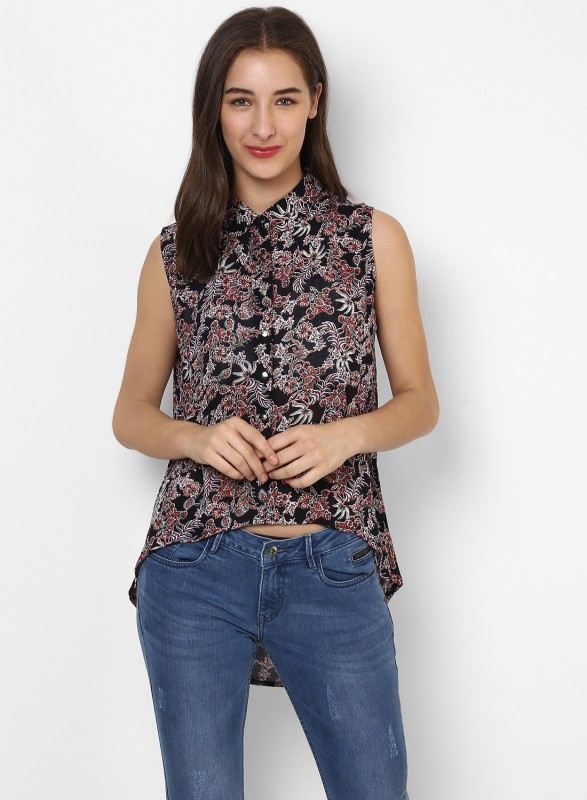 Monte Carlo Casual Sleeveless Printed Womens Black Top