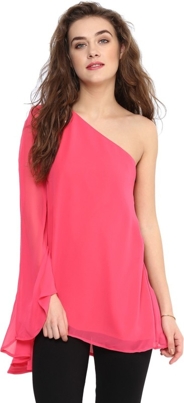 Uptownie Lite Party Flared Sleeve Solid Women Pink Top