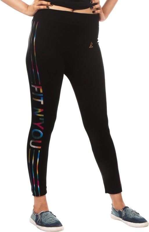 Fit 'N ' You Printed Women's Black Track Pants