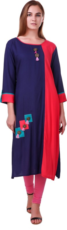 RK Online Shopping Formal Solid Women Kurti(Blue)