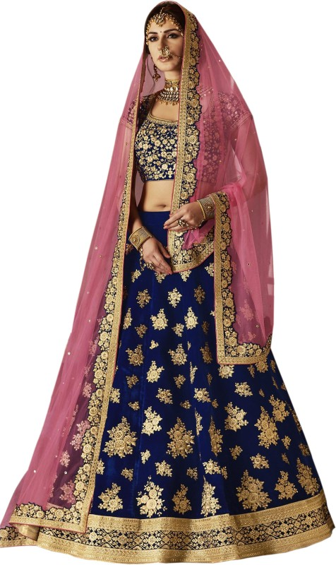 Kedar Fab Embroidered Semi Stitched Lehenga, Choli and Dupatta Set(Multicolor)