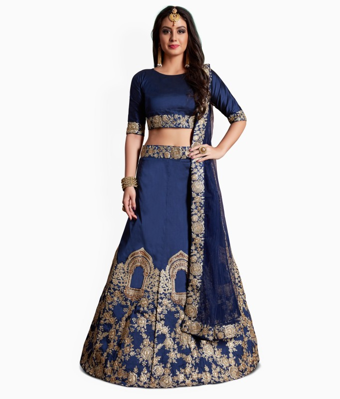 Fabron Embroidered Semi Stitched Lehenga, Choli and Dupatta Set(Blue)