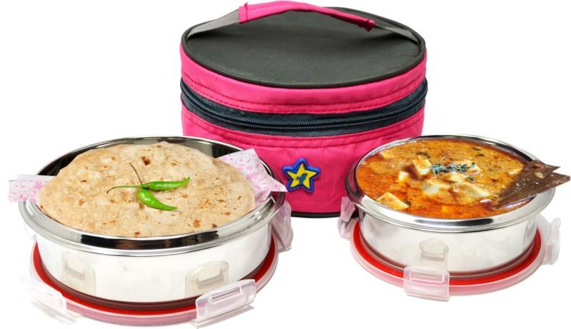 Flipkart SmartBuy Classic Lunch box With Bag, 1 Big (700ml) 1 Medium (500ml) Lock Round 2 Containers Lunch Box(1200 ml)