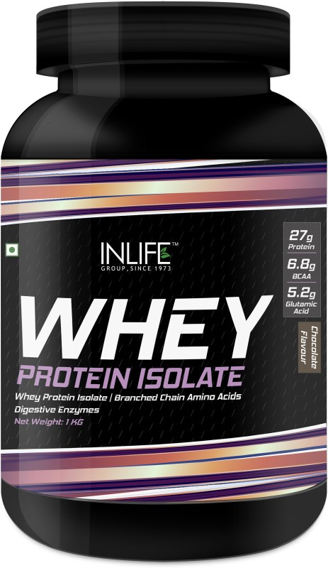 Inlife INLIFE 100% Isolate Whey Protein Powder Supplement 27 grams protein per serving - 1kg (Chocolate) Whey Protein(1 kg, Chocolate)