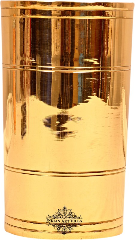 IndianArtVilla IAV-BR-1-163 Glass(Brass, 400 ml, Gold, Pack of 1)