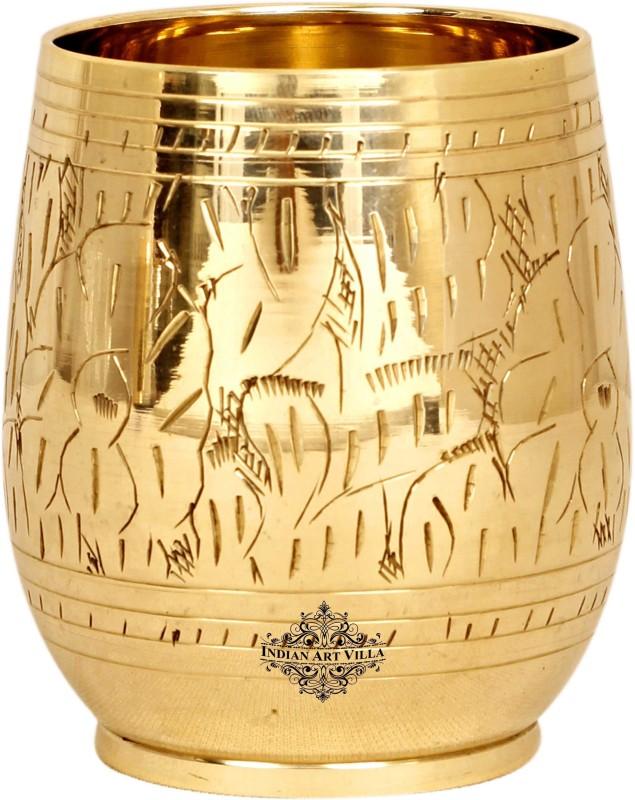 IndianArtVilla IAV-BR-1-178 Glass(Brass, 300 ml, Gold, Pack of 1)