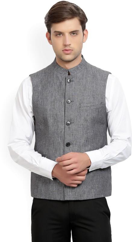 Louis Philippe Sleeveless Self Design Mens Linen Jacket