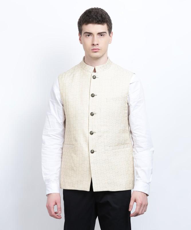 Louis Philippe Sleeveless Self Design Mens Jacket