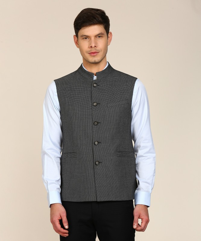 Louis Philippe Sleeveless Self Design Mens Jacket