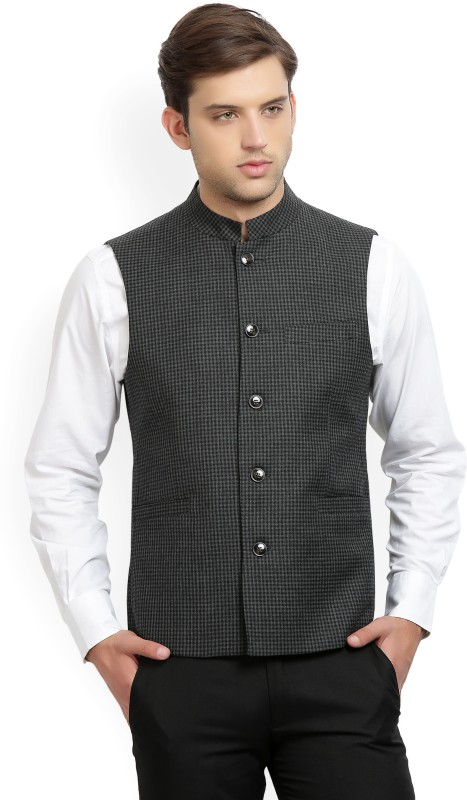 Louis Philippe Sleeveless Checkered Mens Jacket