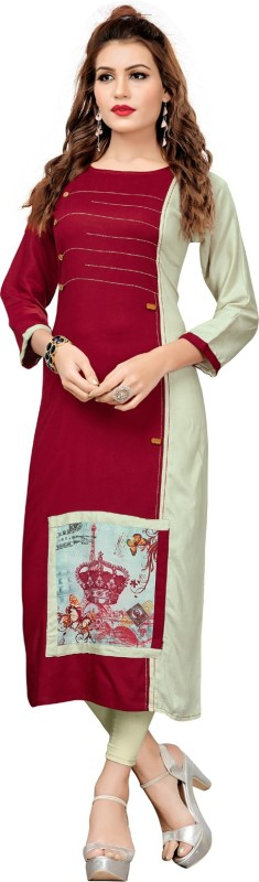 KAYA FASHION Festive & Party Solid Women Kurti(Maroon, Grey)