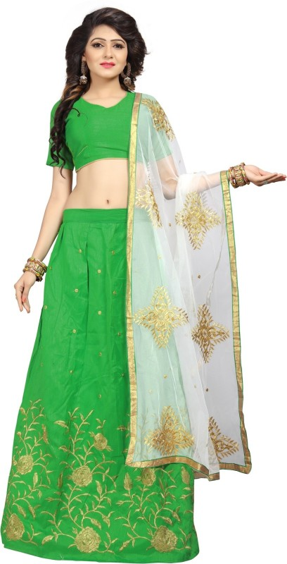 Florence Embroidered Lehenga, Choli and Dupatta Set(Green)