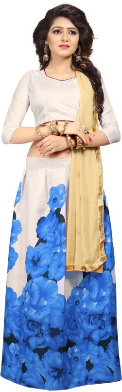 Florence Floral Print Lehenga, Choli and Dupatta Set(Blue, White)