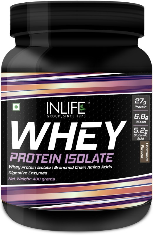 Inlife 100% Isolate Whey Protein Powder Supplement 27 Grams Protein per Serving Whey Protein(400 g, Chocolate)