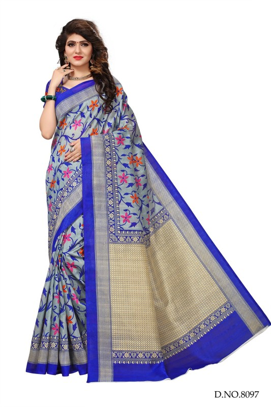 Active Floral Print Bhagalpuri Art Silk Saree(Multicolor)