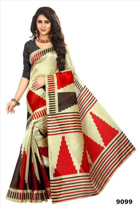 Active Printed Bhagalpuri Art Silk Saree(Beige, Red)