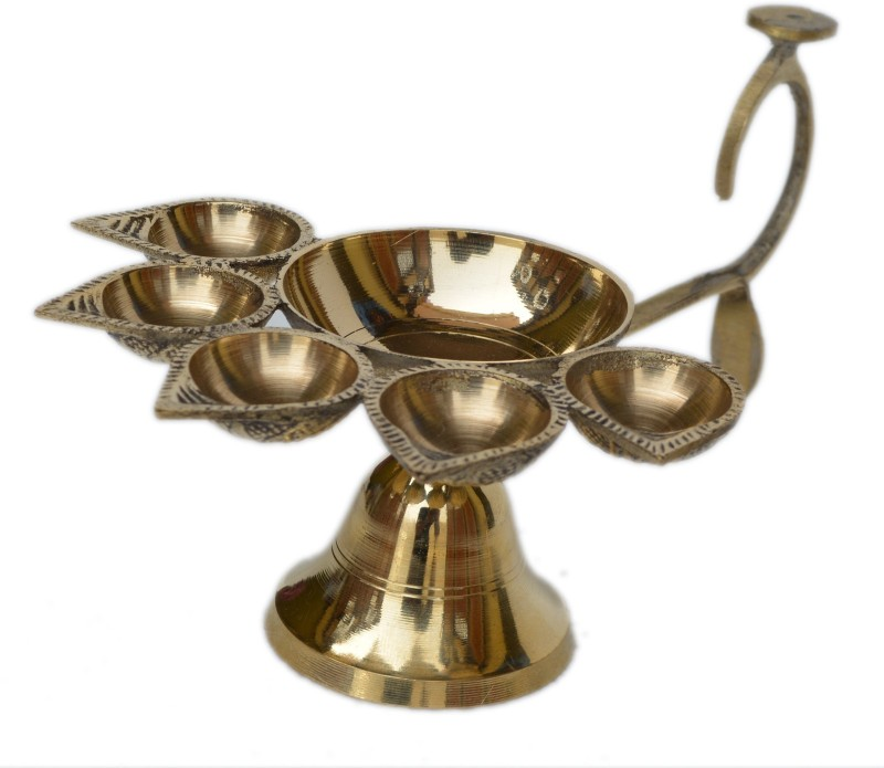 Aakrati Indian Traditional Pure Brass Panch Deepak Aarti Oil Lamp for Pooja Mandir/Handmade Decorative Camphor Burner/Designer Hindu Puja Five Face Jyot Diya Stand Decorative Showpiece - 11 cm(Brass, Yellow)