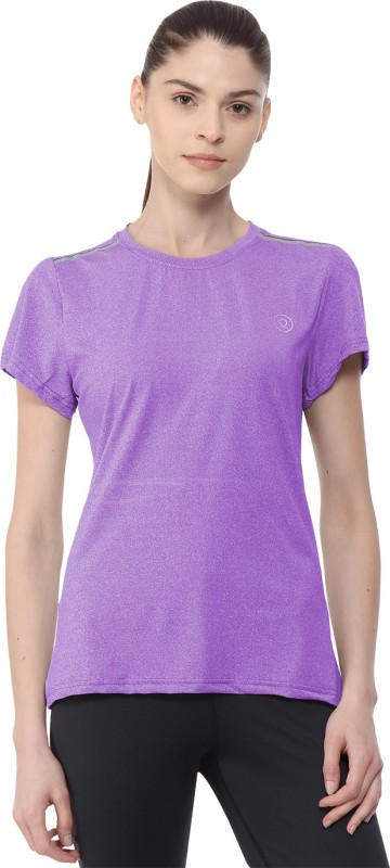 Chkokko Self Design Women Round Neck Purple T-Shirt
