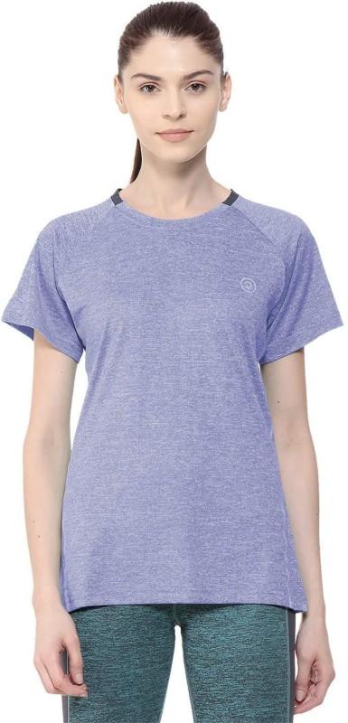 Chkokko Self Design Women Round Neck Blue T-Shirt