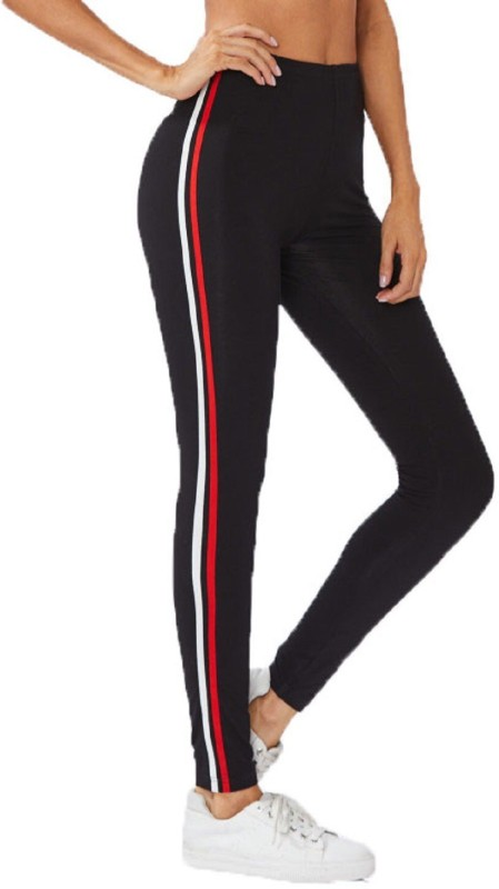 Unitedway Striped Women Black, Red, White Tights