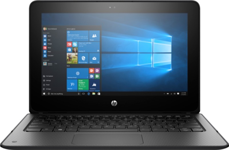HP ProBook x360 Celeron Dual Core - (4 GB/64 GB EMMC Storage/Windows 10 Pro) 1FY90UT 2 in 1 Laptop(11.6 inch, Black, With MS Office)