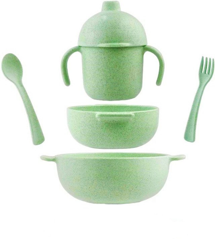 Quick Shel Wheat Fibre BIO DEGRADABLE ECO Friendly Dinner Set for Kids (Green) Pack of 5 Dinner Set(Microfibre)