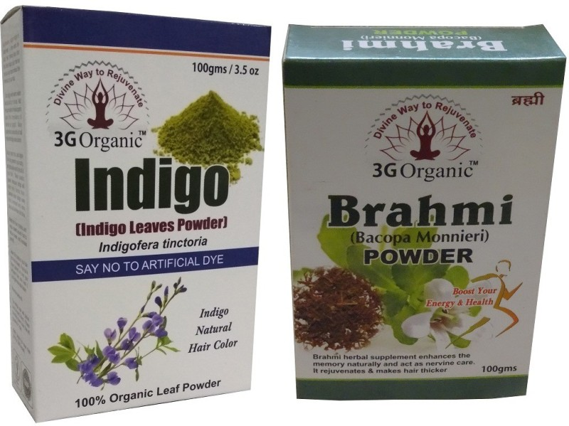 3G Organic Indigo Leaf Powder Brahmi Powder 100% Organic For Hair Color And Nourishment Combo Pack Hair Color(Black)