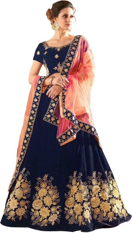 21st Fashion Embroidered Semi Stitched Lehenga, Choli and Dupatta Set(Multicolor)