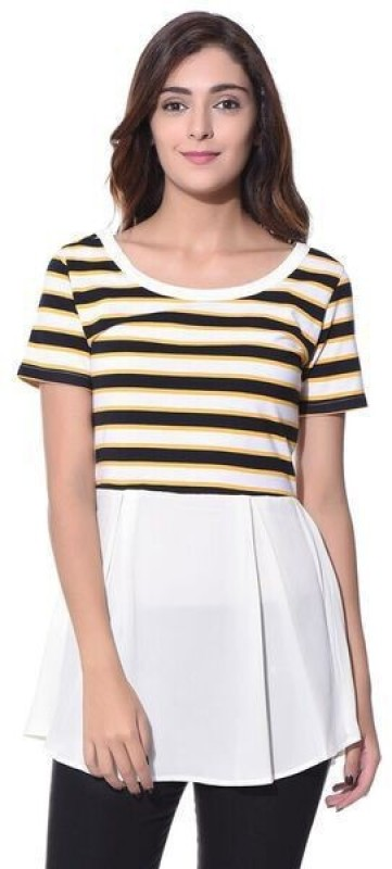 Uptownie Lite Casual Short Sleeve Striped Women's Yellow Top