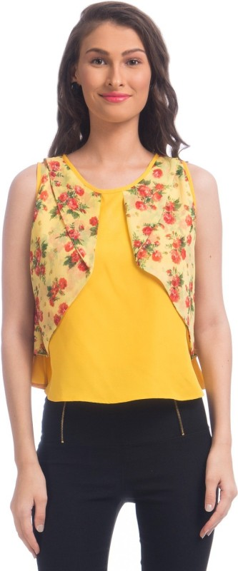 Uptownie Lite Party Sleeveless Floral Print Women's Yellow Top