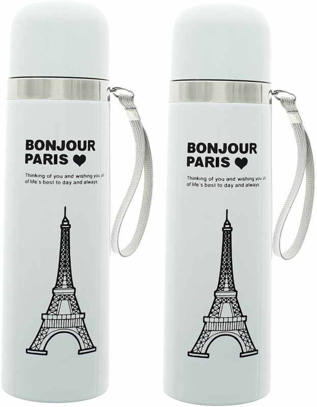 HUSKER® stainless steel vacuum flasks water bottle (White Paris - 2 Pcs) 500 ml Flask(Pack of 2, White)