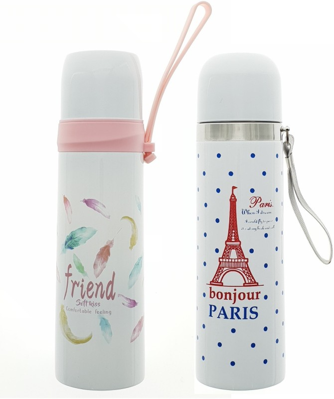 HUSKER® stainless steel vacuum flasks water bottle ( Friend Softkiss -Bonjor Paris) 500 ml Flask(Pack of 2, White)