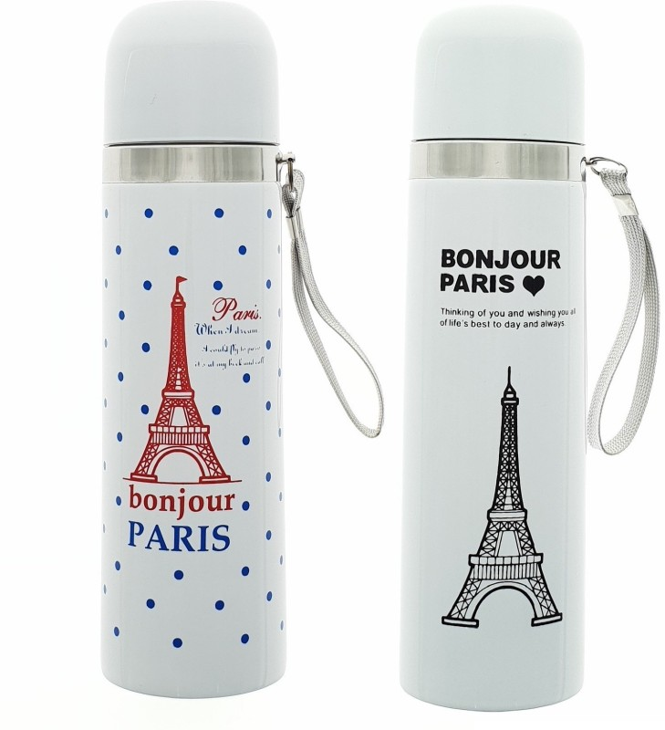 HUSKER® stainless steel vacuum flasks water bottle ( Bonjor Paris -White Paris) 500 ml Flask(Pack of 2, White)