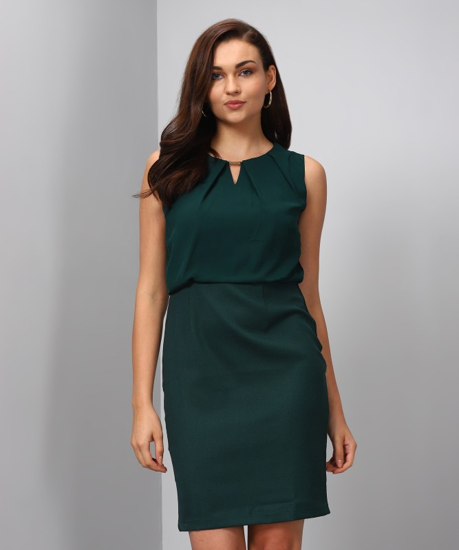 Allen Solly Womens Skater Dark Green Dress