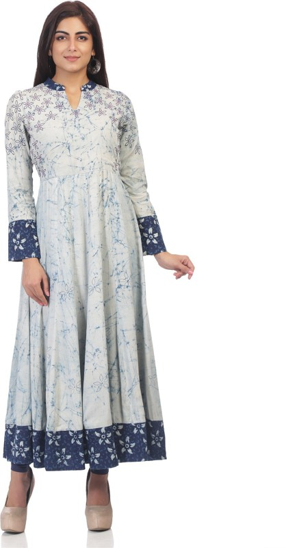 ARK Casual Printed Women Kurti(Blue)