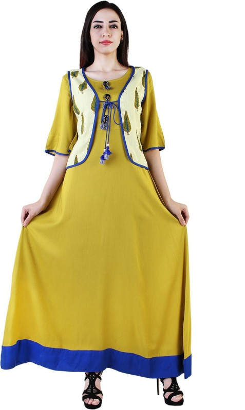 Shopping Rajasthan Festive & Party Solid Women's Kurti(Yellow)