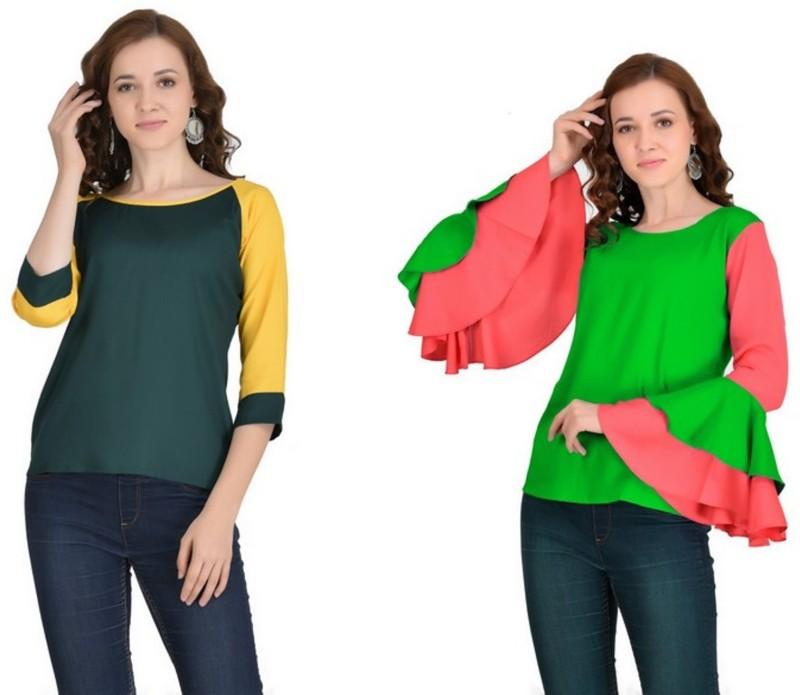 VAANYA Casual 3/4th Sleeve Solid Women's Dark Green, Green Top