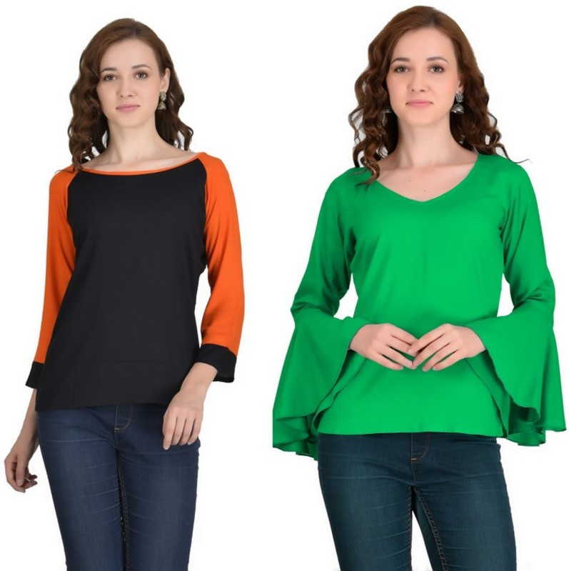 VAANYA Casual 3/4th Sleeve Solid Women's Black, Green Top