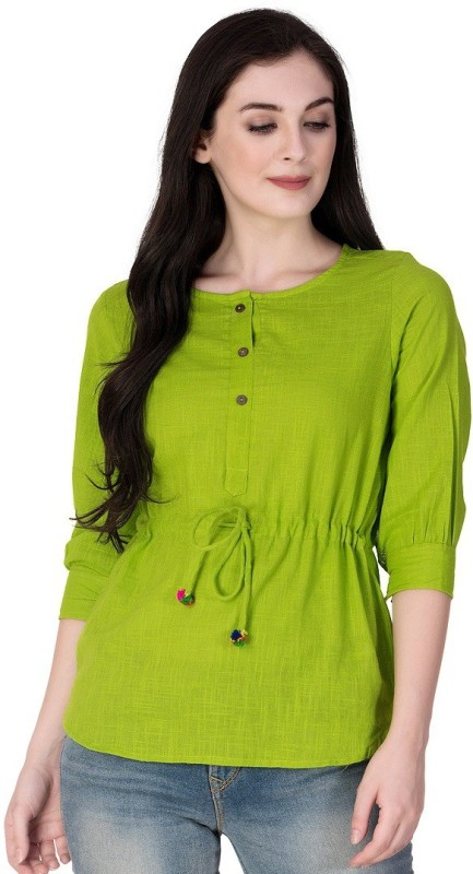 GMI Casual 3/4 Sleeve Solid Women Green Top