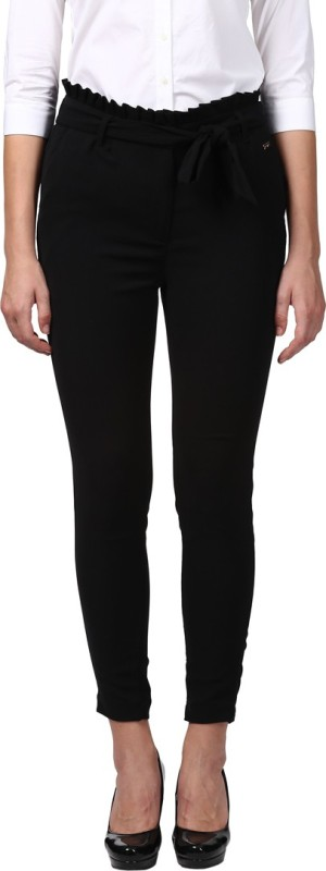 Park Avenue Tapered Women Black Trousers
