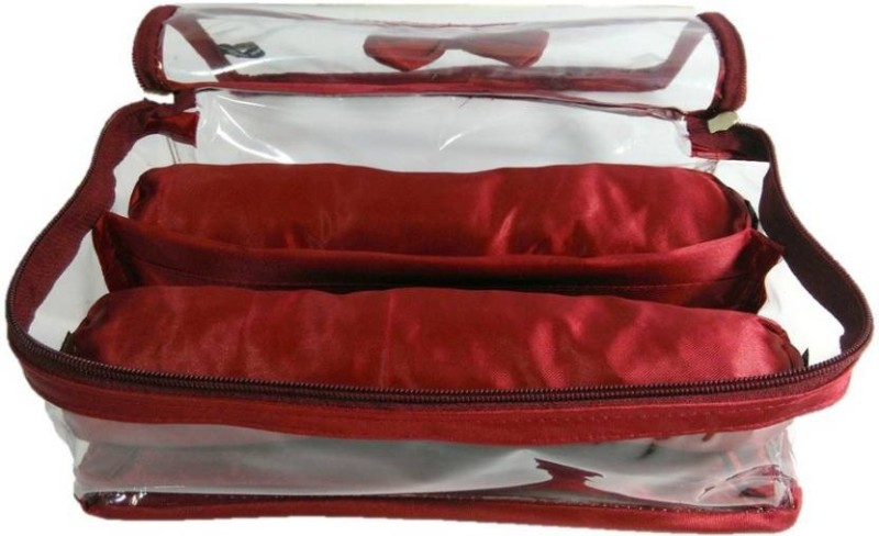 Aadhya 2 Rods Bangle box Jewellery Organiser Pouches Storage Case (Red) Vanity Box(Red)